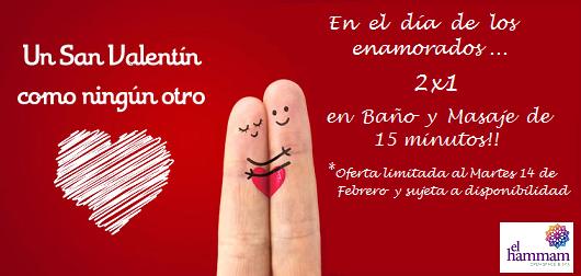 El dia de San Valentin 2X1 en Baño y Masaje de 15 minutos